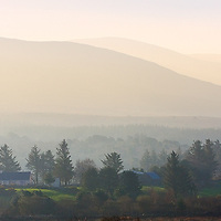 Panoramic foggy Sunrise in Kerry Highlands with Cottages, County Kerry, Ireland / ba075