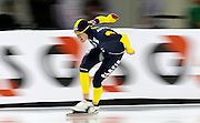 Joshua Lose of Australia, competes in the men's 10,000-meter World Cup speedskating competition at the Utah Olympic Oval in Kearns, Utah, Saturday, Feb. 19, 2011. (AP Photo/Colin E Braley)