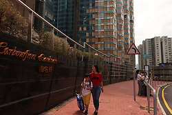 September 30, 2018 - Hong Kong, CHINA - HARBOURFRONT LANDMARK, a high class residential complex suffered severe damage to the windows during Super Typhoon Mangkhut that ravaged Hong Kong with fierce force 2 weeks ago. Broken windows are now temporarily fixed with wooden boards awaiting further damage assessments and repair. Sept-30,2018 Hong Kong.ZUMA/Liau Chung-ren (Credit Image: © Liau Chung-ren/ZUMA Wire)
