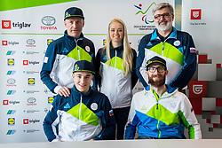 Roman Podlipnik, Gal and Roman Jakic, Jernej Slivnik during Press conference before departure on Paralympic Games in Pyeongchang, on February 28, 2018 in Triglav Zavarovalnica, Ljubljana, Slovenia. Photo by Ziga Zupan / Sportida
