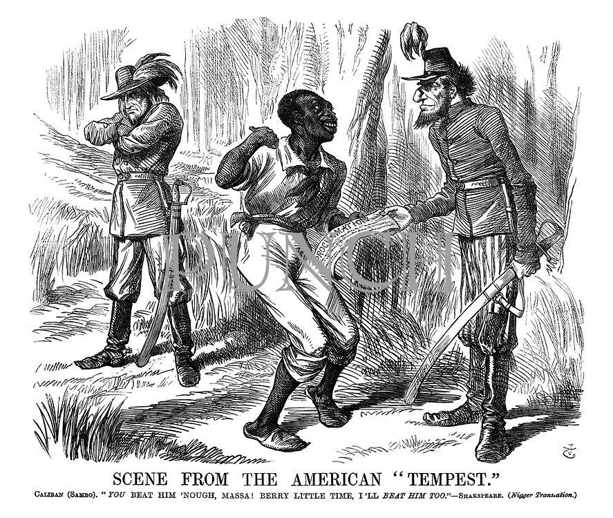 "Scene from the American ""Tempest."" Caliban (Sambo). ""You Beat Him 'Nough, Massa! Berry Little Time, I'll Beat Him Too."" - Shakespeare. (Nigger Translation.)"