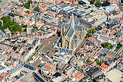 Nederland, Noord-Holland, Haarlem, 01-08-2016; centrum Haarlem, Grote Markt en De Grote of Sint Bavokerk. <br /> City centre Haarlem.<br /> luchtfoto (toeslag op standard tarieven);<br /> aerial photo (additional fee required);<br /> copyright foto/photo Siebe Swart