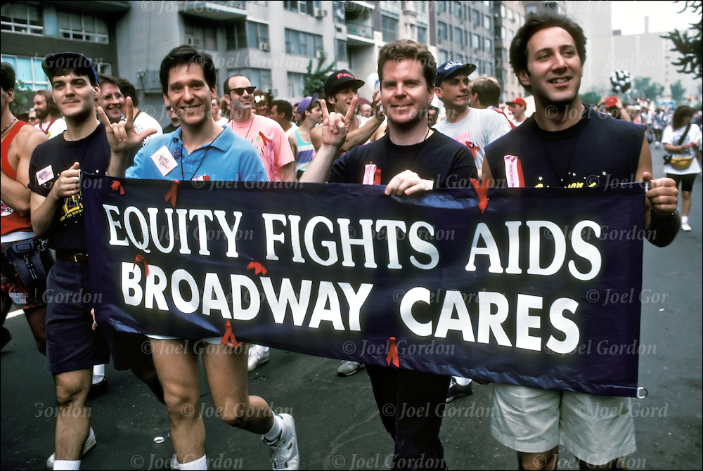 Equity Fights AIDS Broadway Cares.Gay and Lesbian pride parade. Gender and sexual identity and orientation