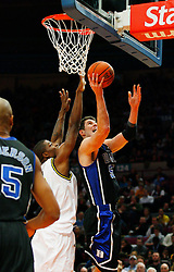 Nov 21, 2008; New York, NY, USA; Duke Blue Devils center Brian Zoubek (55) takes a shot during the 2K Sports Classic Championship game at Madison Square Garden.
