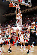 BLOOMINGTON, IN - JANUARY 29: Cody Zeller #40 of the Indiana Hoosiers dunks for two of his game-high 26 points against the Iowa Hawkeyes at Assembly Hall on January 29, 2012 in Bloomington, Indiana. Indiana defeated Iowa 103-89. (Photo by Joe Robbins) *** Local Caption *** Cody Zeller