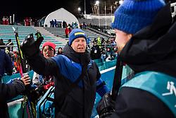 February 12, 2018 - Pyeongchang, SOUTH KOREA - 180212  Sebastian Samuelsson of Sweden, Silver, celebrates with his team after the Men's Biathlon 12,5km Pursuit during day three of the 2018 Winter Olympics on February 12, 2018 in Pyeongchang..Photo: Jon Olav Nesvold / BILDBYRN / kod JE / 160157 (Credit Image: © Jon Olav Nesvold/Bildbyran via ZUMA Press)