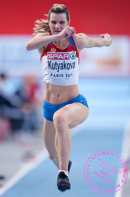 NATALYA KUTYAKOVA (RUSSIA) COMPETES IN WOMEN'S TRIPLE JUMP QUALIFICATION DURING EUROPEAN ATHLETICS INDOOR CHAMPIONSHIPS PARIS 2011 AT BERCY HALL...PARIS , FRANCE , MARCH 04, 2011..( PHOTO BY ADAM NURKIEWICZ / MEDIASPORT )..PICTURE ALSO AVAIBLE IN RAW OR TIFF FORMAT ON SPECIAL REQUEST.