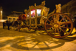 © Licensed to London News Pictures. 06/11/2013. London, UK. The state coach is seen outside the Guildhall in London. A state coach rehearsal for the Lord Mayor's Show takes place in the City of London during the early hours of the morning on 6 November 2013. Photo credit : Vickie Flores/LNP
