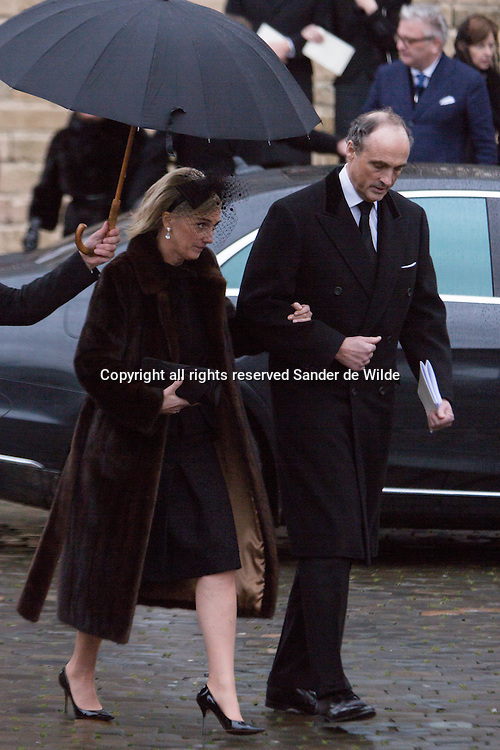 12 December 2014 Today a mass was held in the Saint Gudule cathedral in Brusselsof to honor the former Belgian Queen Fabiola who died and will be buried today.PRincess Astrid and Prince Lorence of Belgium