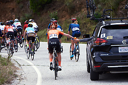 Time to top up on the drinks at the team car at Amgen Tour of California Women's Race empowered with SRAM 2019 - Stage 2, a 74 km road race from Ontario to Mount Baldy, United States on May 17, 2019. Photo by Sean Robinson/velofocus.com