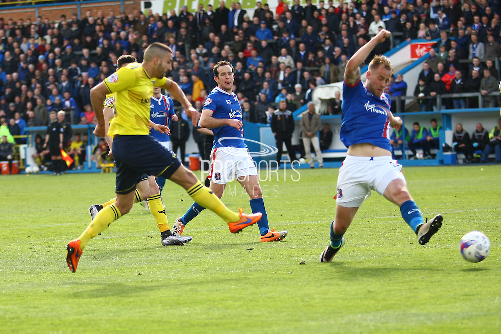 Oxford midfielder Liam Sercombe scoring the second goal during the Sky Bet League 2 match between Carlisle United and Oxford United at Brunton Park, Carlisle, England on 30 April 2016. Photo by Craig McAllister.