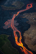 Kilauea's east rift zone: An overhead view of the bend just north of Kapoho Crater, with a substantial overflow occuring.