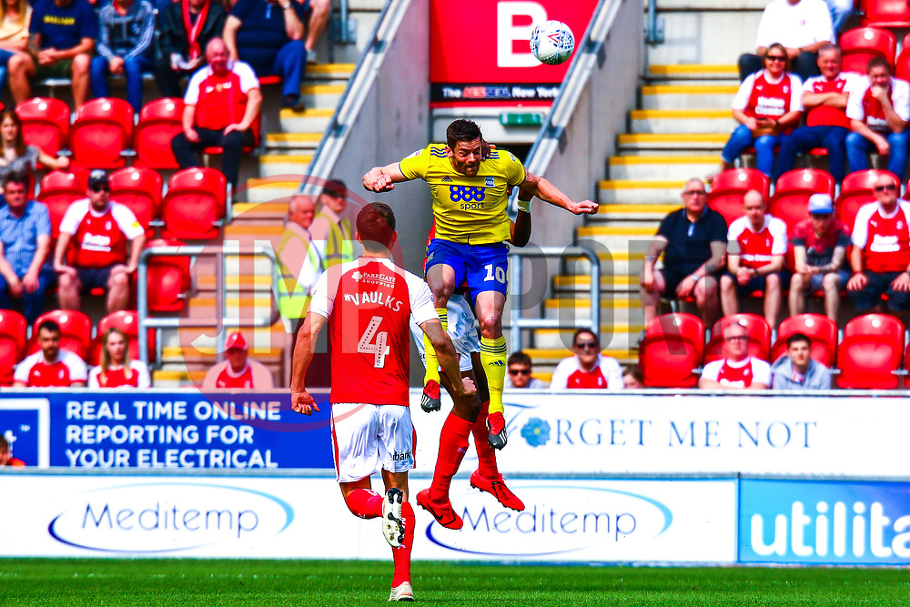 Lukas Jutkiewicz of Birmingham City jumps to head the ball - Mandatory by-line: Ryan Crockett/JMP - 22/04/2019 - FOOTBALL - Aesseal New York Stadium - Rotherham, England - Rotherham United v Birmingham City - Sky Bet Championship