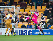 Dundee keeper Scott Bain clutches a cross - Motherwell v Dundee in the Ladbrokes Scottish Premiership at Fir Park, Motherwell.Photo: David Young<br /> <br />  - &copy; David Young - www.davidyoungphoto.co.uk - email: davidyoungphoto@gmail.com