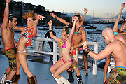 Bonds swimwear models fashion show with Sydney harbour behind. . An instant sale option is available where a price can be agreed on image useage size. Please contact me if this option is preferred.