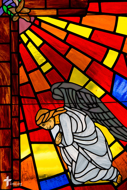 Stained glass of the cross and angel at Mt. Calvary Lutheran Church, La Grange, Texas, on Sunday, Sept. 3, 2017.  LCMS Communications/Erik M. Lunsford