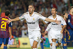 17.08.2011, Camp Nou, Barcelona, ESP, Supercup 2011, FC Barcelona vs Real Madrid, im Bild Real Madrid's Karim Benzema (l) and Ricardo Carvalho celebrates goal during Spanish Supercup 2nd match.August 17,2011. EXPA Pictures © 2011, PhotoCredit: EXPA/ Alterphotos/ Acero +++++ ATTENTION - OUT OF SPAIN / ESP +++++