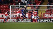 Charlton Athletic goalkeeper, Stephen Henderson (1) savng from Cardiff City defender, Matthew Connolly (16) during the Sky Bet Championship match between Charlton Athletic and Cardiff City at The Valley, London, England on 13 February 2016. Photo by Matthew Redman.