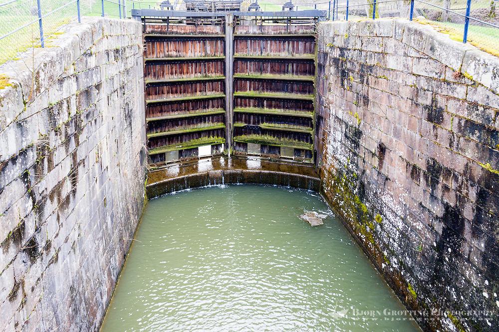 Sweden, Trollhättan. Old lock in Göta kanal.