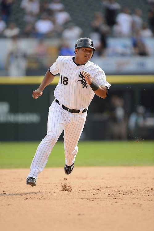 CHICAGO - SEPTEMBER 05:  Jose Lopez #18 of the Chicago White Sox runs the bases against the Minnesota Twins on September 05 , 2012 at U.S. Cellular Field in Chicago, Illinois.  The White Sox defeated the Twins 6-2.  (Photo by Ron Vesely)  Subject:    Jose Lopez