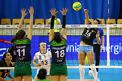 Monika Potokar of Calcit Ljubljana vs Justyna Lukasik of PGE Atom Trefl Sopot and Katarzyna Zaroslinska of PGE Atom Trefl Sopot during the volleyball match between Calcit Ljubljana and  PGE Atom Trefl Sopot at 2016 CEV Volleyball Champions League, Women, League Round in Pool B, 1st Leg, on October 29, 2016, in Hala Tivoli, Ljubljana, Slovenia.  (Photo by Matic Klansek Velej / Sportida)