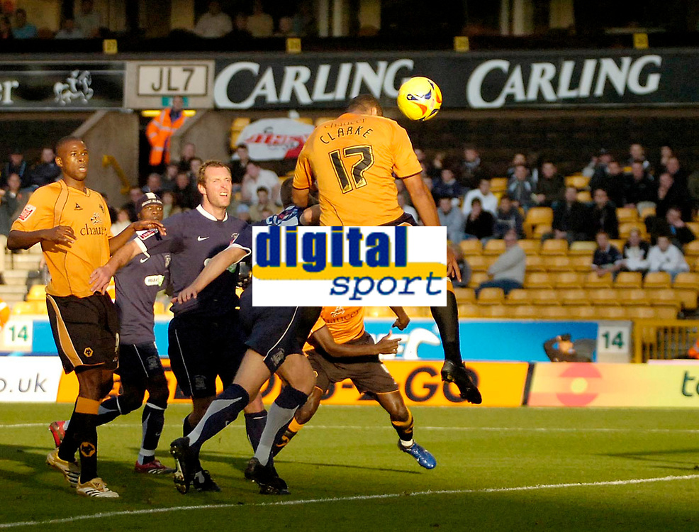 Photo: Ed Godden.<br />Wolverhampton Wanderers v Southend United. Coca Cola Championship. 04/11/2006. Wolves' Leon Clarke heads the ball goal bound.