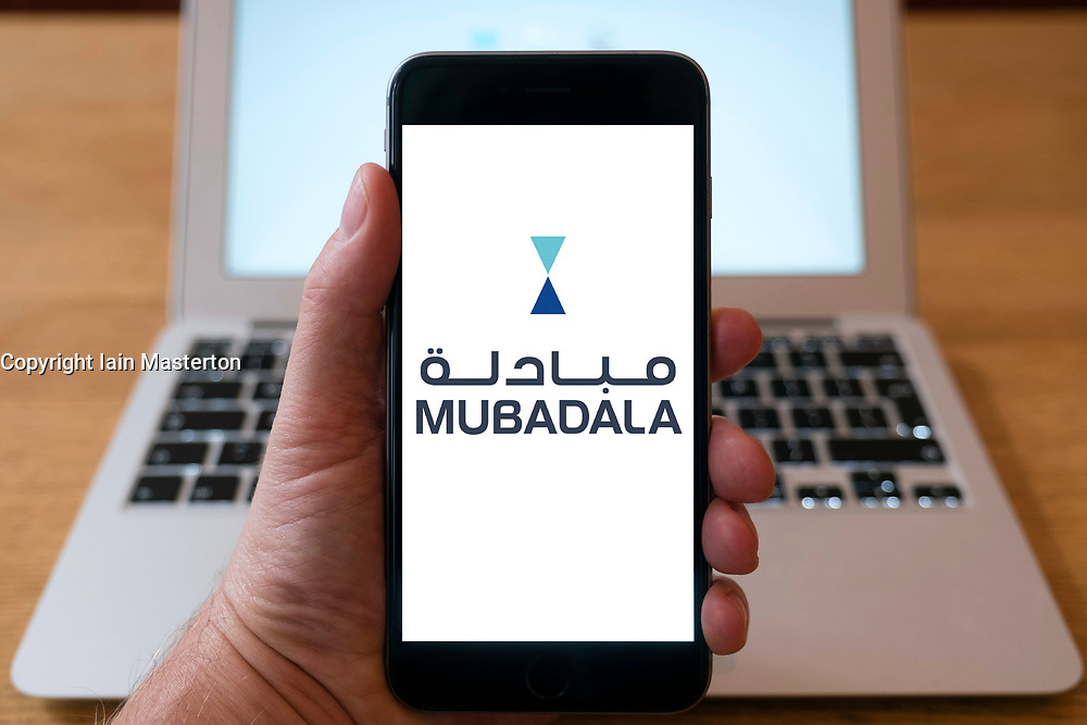 Logo of Mubadala shown on smart phone screen