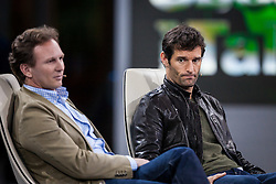 "14.05.2012, Hangar 7, Salzburg, AUT, Sport und Talk, Live aus dem Hangar 7, im Bild Christian Horner (GBR, Teamchef Red Bull Racing) und Mark Webber (AUS, Red Bull Racing) // during the Servus TV show ""Sport and Talk live at the Hangar 7, Salzburg, Austria on 2012/05/14, EXPA Pictures © 2012, PhotoCredit: EXPA/ Juergen Feichter"