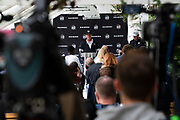 Oakland Raiders Head Coach Jon Gruden talks to the press during the practice session for Oakland Raiders at the Grove Hotel, Chandlers Cross, United Kingdom on 4 October 2019.