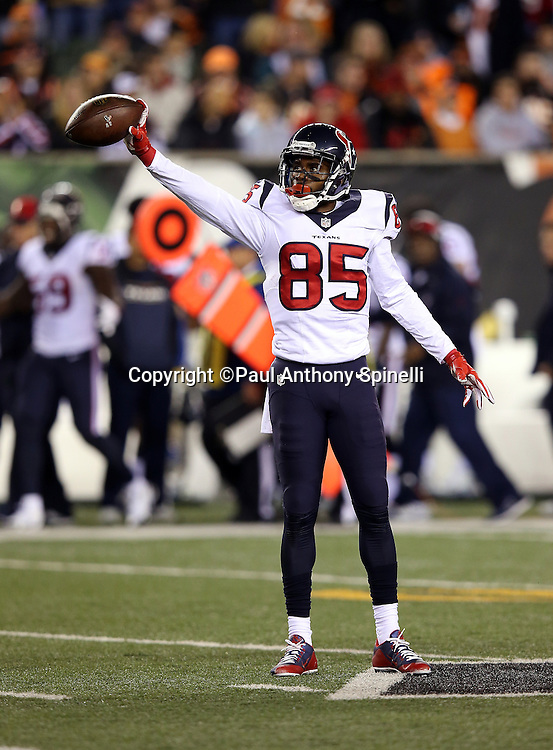 Houston Texans wide receiver Nate Washington (85) drops the ball in celebration after catching a 19 yard pass for a first down in Cincinnati Bengals territory on a third down play at the start of the second quarter during the 2015 week 10 regular season NFL football game against the Cincinnati Bengals on Monday, Nov. 16, 2015 in Cincinnati. The Texans won the game 10-6. (©Paul Anthony Spinelli)