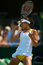 LONDON, ENGLAND - Tuesday, June 22, 2010: Anne Keothavong (GBR), wearing yellow knickers,  during the Ladies' Singles 1st Round match on day two of the Wimbledon Lawn Tennis Championships at the All England Lawn Tennis and Croquet Club. (Pic by David Rawcliffe/Propaganda)