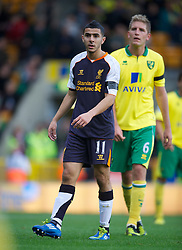 NORWICH, ENGLAND - Saturday, September 29, 2012: Liverpool's Oussama Assaidi in action against Norwich City during the Premiership match at Carrow Road. (Pic by David Rawcliffe/Propaganda)