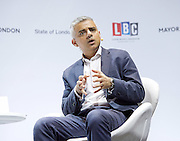 Sadiq Khan<br /> Mayor of London <br /> State of London debate hosted by LBC <br /> at The O2 Arena, London, Great Britain <br /> 30th July 2016 <br /> <br /> <br /> Sadiq Khan <br /> Q &amp; A <br /> <br /> <br /> Photograph by Elliott Franks <br /> Image licensed to Elliott Franks Photography Services