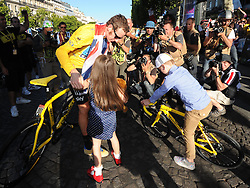 Bradley Wiggins with his children after  winning  the Tour de France in Paris, Sunday, 22nd July 2012.  Photo by:  i-Images / Bureau233