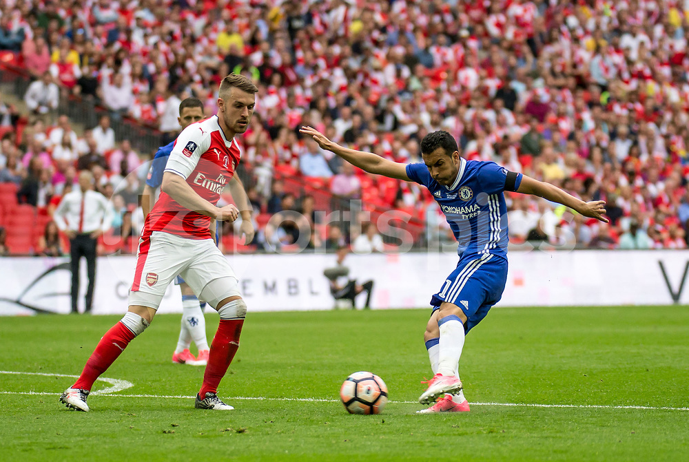 Pedro of Chelsea shoots during the Emirates FA Cup Final between Arsenal and Chelsea at Wembley Stadium, London, England on the 27th May 2017. Photo by Liam McAvoy.