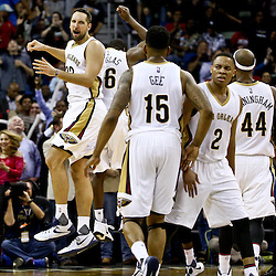 Mar 18, 2016; New Orleans, LA, USA; New Orleans Pelicans forward Ryan Anderson (33) reacts after a three point basket against the Portland Trail Blazers during the fourth quarter of a game at the Smoothie King Center. The Trail Blazers defeated the Pelicans 117-112.  Mandatory Credit: Derick E. Hingle-USA TODAY Sports