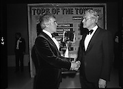 "Tops of the Town Final.   (N79)..1981..31.05.1981..05.31.1981..31st May 1981..The John Player sponsored Tops Of The Town competition had its final tonight in the Gaiety Theatre, Dublin.The overall winners were the Limerick Insurances Group..Image shows Mr Harry Nolan (L), Group leader of the Irish Biscuits show, (Semi Finalist in ""Tops"") and Mr Oliver Casey , Managing Director, John Player..Photo shows the producers of the finalists in the ""Tops"" competition, Mr Douglas Howell, Limerick Insurances Group and Mr Raymond Kirk, St Joseph's Youth Club, Strabane."
