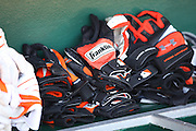 ANAHEIM, CA - JULY 05:  Batting gloves lie ready for the Baltimore Orioles game against the Los Angeles Angels of Anaheim at Angel Stadium on Sunday, July 5, 2009 in Anaheim, California.  The Angels defeated the Orioles 9-6.  (Photo by Paul Spinelli/MLB Photos via Getty Images)