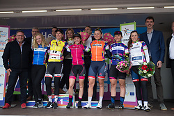 The jersey wearers celebrate on the podium after Stage 3 of the Healthy Ageing Tour - a 154.4 km road race, between  Musselkanaal and Stadskanaal on April 7, 2017, in Groeningen, Netherlands.