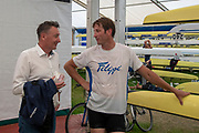Henley on Thames, England, United Kingdom, Wednesday, 03.07.19, Peter MOIR-HAINING (left), with Iztok COP, in Boat Tent, Henley Royal Regatta,  Henley Reach, [©Karon PHILLIPS/Intersport Images]<br /> <br /> 16:46:53 1919 - 2019, Royal Henley Peace Regatta Centenary,