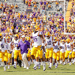 Oct 12, 2013; Baton Rouge, LA, USA; LSU Tigers head coach Les Miles and players run onto the field prior to kickoff of a game against the Florida Gators at Tiger Stadium. Mandatory Credit: Derick E. Hingle-USA TODAY Sports