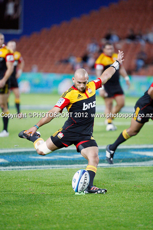Aaron Cruden kicks 3 points during their game at Waikato Stadium  2012 Super Rugby season, Chiefs v Waratahs at Waikato Stadium, Hamilton, New Zealand, Saturday 31 March 2012. Photo: Dion Mellow/photosport.co.nz