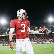 PALO ALTO, CA - SEPTEMBER 23:  K.J. Costello #3 of the Stanford Cardinal warms up on the sidelines during an NCAA Pac-12 football game against the UCLS Bruins on September 23, 2017 at Stanford Stadium in Palo Alto, California.  (Photo by David Madison/Getty Images)