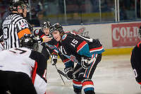 KELOWNA, CANADA, NOVEMBER 23: Colton Sissons #15 of the Kelowna Rockets faces off against the Prince George Cougars visit the Kelowna Rockets  on November 23, 2011 at Prospera Place in Kelowna, British Columbia, Canada (Photo by Marissa Baecker/Shoot the Breeze) *** Local Caption ***Colton Sissons