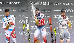 26.10.2019, Hannes Trinkl Weltcupstrecke, Hinterstoder, AUT, FIS Weltcup Ski Alpin, Alpine Kombination, Herren, Siegerehrung, im Bild Mauro Caviezel (SUI)Alexis Pinturault (FRA) Aleksander Aamodt Kilde (NOR) // Mauro Caviezel (SUI)Alexis Pinturault (FRA) Aleksander Aamodt Kilde (NOR) during the winner ceremony for the men's Alpine combined of FIS ski alpine world cup at the Hannes Trinkl Weltcupstrecke in Hinterstoder, Austria on 2019/10/26. EXPA Pictures © 2020, PhotoCredit: EXPA/ Erich Spiess