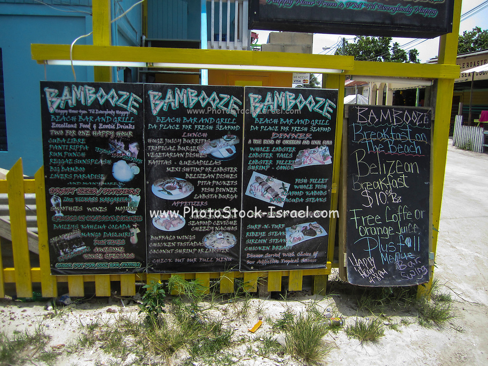 Menu of the Bambooze restaurant, Caye Caulker, Belize