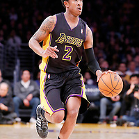 28 February 2014: Los Angeles Lakers shooting guard MarShon Brooks (2) brings the ball up court during the Los Angeles Lakers 126-122 victory over the Sacramento Kings at the Staples Center, Los Angeles, California, USA.