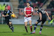 Stephen Kelly (Rotherham United) watches on as Sam Gallagher (Blackburn Rovers) heads the ball during the EFL Sky Bet Championship match between Rotherham United and Blackburn Rovers at the AESSEAL New York Stadium, Rotherham, England on 11 February 2017. Photo by Mark P Doherty.