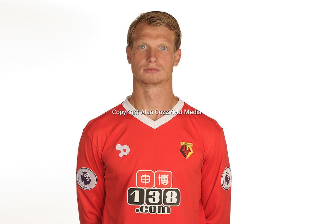 Watford FC Season 2016-17 Premier Lge<br /> Pic Alan Cozzi 02/08/2016<br /> Sopwell House Photocall Headshot's<br /> Watford's Giedrius Arlauskis