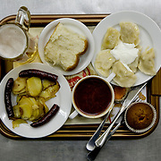 Borscht is served among other food at the Puzata Khata fastfood restaurant in Kiev, the capital of Ukraine. Borsht is a traditional Ukrainian cuisine that has spreaded via Russia throughout the former Soviet sphere.